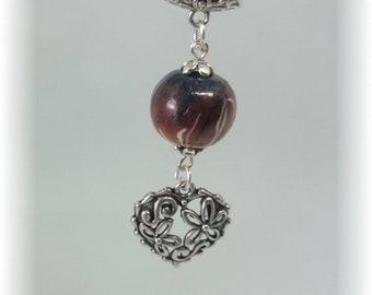 Pistils in fiery colors - Pearl on silver plated chain