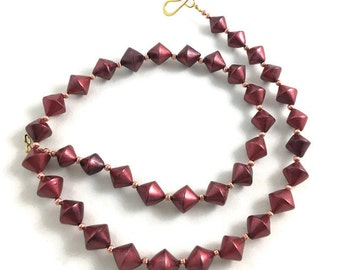 Cranberry red metallic beaded necklace handmade bicone polymer clay beads