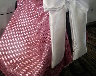 Car seat Canopy Mauve Sequin Rosebud Minky Carseat Cover with Satin bow and Minky Fur Inside READY TO SHIP