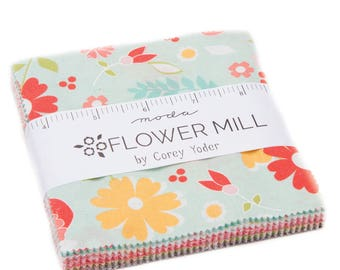 FLOWER MILL Charm Pack, Corey Yoder, Moda Fabrics, Floral Fabric, In Stock