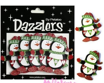 "Set of 5 Christmas Penguin 3D ""dazzlers"" Petaloo embellishment Scrapbook Paper *."