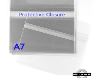 100 - A7 size - Crystal Clear Bags - Protective Closure - 1.6 mil BOPP cello - Ideal for  5 x 7 cards