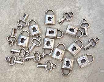 FINAL CLEARANCE -  450 MixNMatch Padlock Key Charms, DeSTASH, Lock Skeleton House Key - Dble Sided Ant. Silver-tone Metalized Plastic Charms