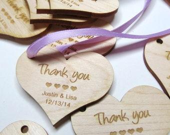 2 x 2 Heart Tags - Custom Wedding Tags - Wood Wedding Tags