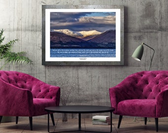 Scotland Loch Lomond Mountain photograph print with quote