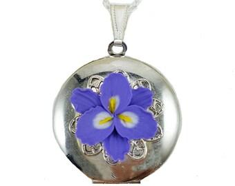 Purple Freesia Locket Necklace - Freesia Jewelry