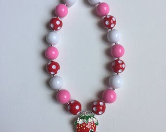 Shopkins Chunky Bead Necklace - Little Girl Jewelry - Shopkins Bracelet - Strawberry Bubblegum Girl Baby Necklace - Shopkins Party