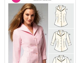 McCall's Sewing Pattern M6750 Misses' Fold-Back Collar Shirts