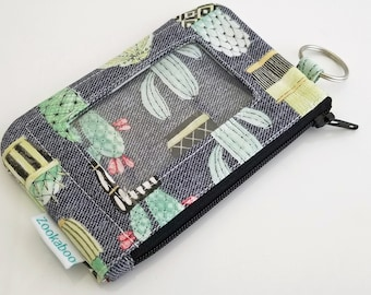 Womens Wallet - Keychain Wallet - Cactus Wallet - Mini Wallet Women - ID Card Holder - Minimalist Wallet for Women - Cactus Lover Gift
