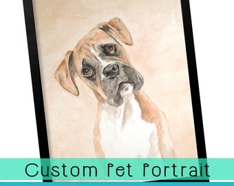 Gift Certificate Custom Personalized Watercolor Pet Portrait