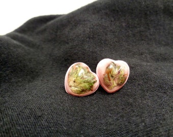 Pink Heart Cannabis Stud Earrings-Mothers Day Cannabis-Ganja-Mothers Day Earrings-Weed Earrings-Cannabis Earrings-Cannabis Jewelry