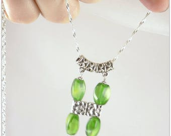 Long torso Murano green pendant necklace shape: - 123 stones jewelry