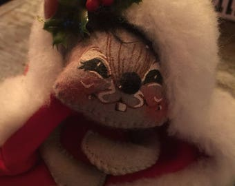 Vintage Annalee Dolls 1991 Mouse in Santa Hat Holiday Christmas