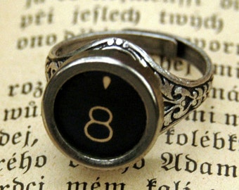 Vintage Typewriter Key Ring- Choose any Letter, Number or Symbol