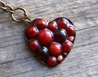 Red heart shaped glass keychain, Modern Mosaic keyring, red Mosaic keyring, keyring with heart, keyring Red heart