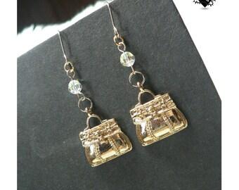Miniature Gold Purse Charm Earrings