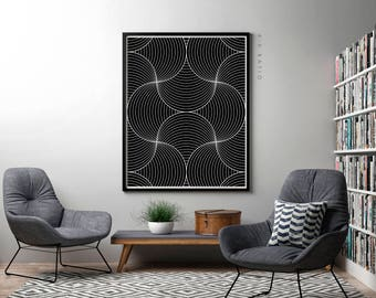 Lines Art Print, White Lines Black Background Print, Dark Wall Decor, Black and White Modern Wall Art, Contemporary Art, Scandinavian Poster