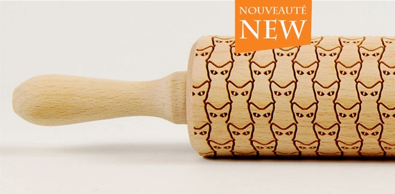 CATS No. 2 Embossing rolling pin Engraved rolling pin Art Deco Cats