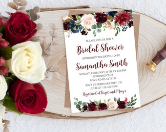 Bridal Shower Invitation Floral Bridal Invite Boho Chic Bridal Invitation Floral Bridal Invitation Digital File