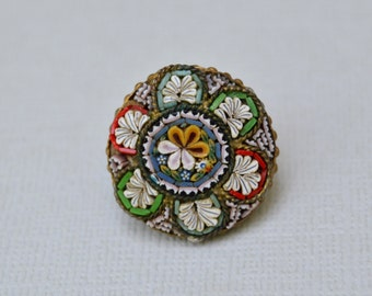 Vintage Italy Mosaic Pin . Unique Flower Small Round Pin . Signed Italy