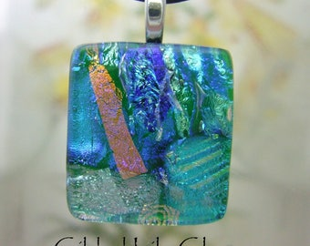 Kelly Green Ice Charm- Fused Glass Jewelry handmade in North Carolina