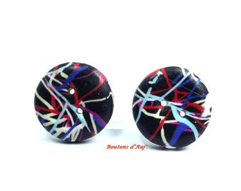 5 round fancy buttons 2.5 cm. Black buttons with colored lines