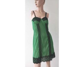 50 's new antique Black Lace green slip dress slip dress deadstock size s , m, l, xl, xxl,xxxl underwear lingerie