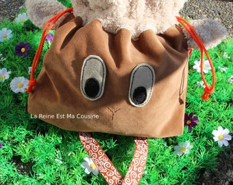 Backpack lamb suede and faux fur sheep for children