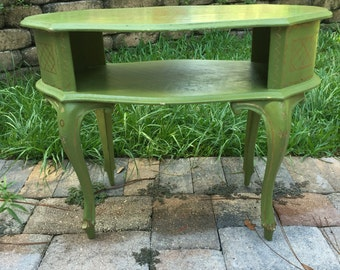 Vintage Telephone Table, Green, Gold ,
