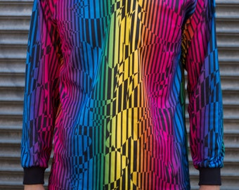 1980's Vintage Men's Rainbow Athletic's International Small Sports V-neck Activewear Shirt - Colorful Long Sleeved Stripe Top / Pride