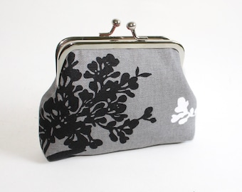 Medium Coin Purse in Gray with Black and White Branch Blossoms