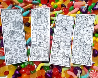 DIGITAL DOWNLOAD, Printable Dessert Coloring Bookmarks, Coloring Pages, Birthday Party Favor, Book Lover Gift DIY, Easter Basket Stuffer