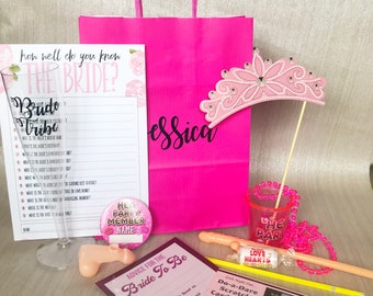 Filled hen party goody/activity bags
