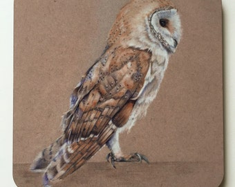 2 Barn Owl Coasters from an Original Painting