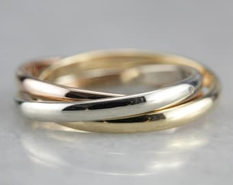 Tri Color Gold Band, Stacking Band, Mix Metal Band, Two Tone Bands A6YPJQEY