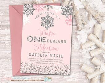 Winter ONEderland Invitation, Winter Birthday Invitation, Snowflake Birthday Invitation, Winter Onederland Birthday Invitation