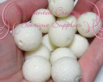 20mm  Ivory Sugar Beads 10pcs, Coated Bead, Chunky Bead, Gumball Bead, Bubblegum Bead, Chunky Jewelry Beads, Acrylic Beads, Textured Beads