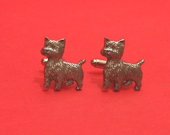 West Highland Terrier Design Pewter Cuff-links Gift Boxed Westie Owner Gift