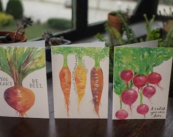 3-set Vegetable Greeting Cards: Assorted