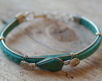 Green turquoise Leather bracelet with Crisocola stone embroidered with alpaca metal  jewelry hand made crafted natural boho hippi