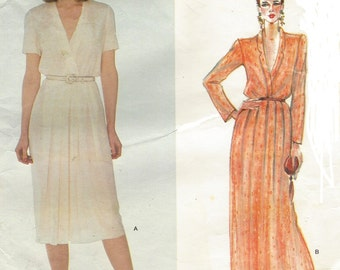 80s John Anthony Womens Day Dress or Evening Gown Vogue Sewing Pattern 2522 Size 14 Bust 36 Vintage Vogue American Designer Patterns
