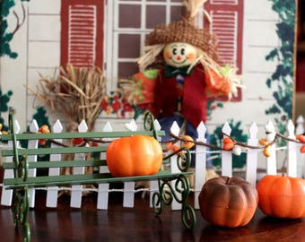 Fall Harvest Dollhouse Picket Fence Set With Vintage 'Iron' Bench and Accessories