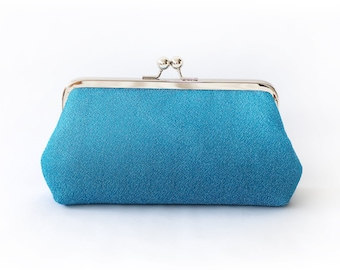 Shimmery Turquoise Blue Clutch Purse for Bride, Bridesmaid, Mothers