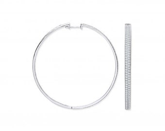 Large Sterling Silver 50mm Micro Pave 2 Row Cz Hinged Hoop Earrings