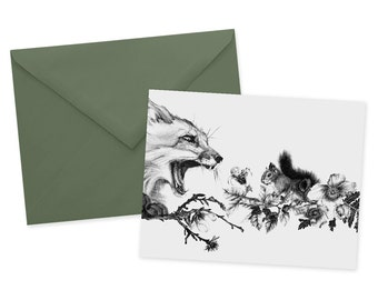 Fox and Squirrel Card 1pc Blank Fox A2 Note Card