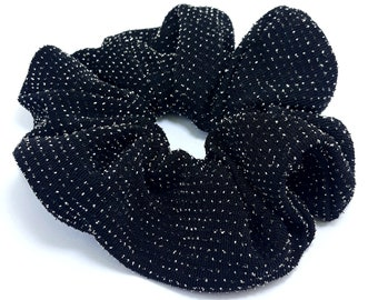 Hair Scrunchie/ Black with silver / Elastic