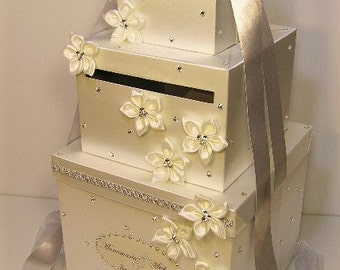 Wedding  Card Box LARGE Size 3 tier Silver and Ivory Gift Card Box Money Box Holder--Customize your color