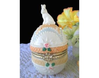 Trinket Box * Bunny Rabbit On Decorated Egg