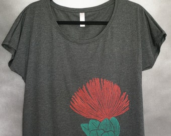 Women's Blouse, Charcoal, with One (1) Block Printed Red and Green ʻŌhi'a Lehua