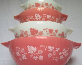 Vintage Pyrex Pink Gooseberry Cinderella Nesting Mixing Bowls FULL COMPLETE SET *441 442 443 444* In Excellent Vintage Condition